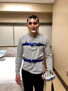 Dr Kevin Goles wearing sleep study probes