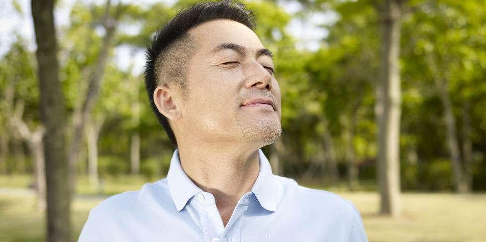 man breathing through nose